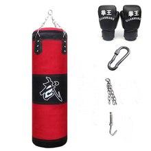 цена на 120cm Training Fitness MMA Boxing Punching Bag Empty Sport Kick Sandbag Muay Thai Boxer Training Set Wraps & Palm Sleeves & Hook