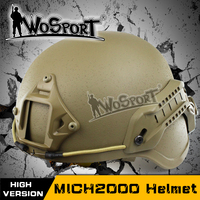Wosport tactical emerson ach mich 2000 militaire helm met nvg mount en side rail voor airsoft paintball cs combat helm