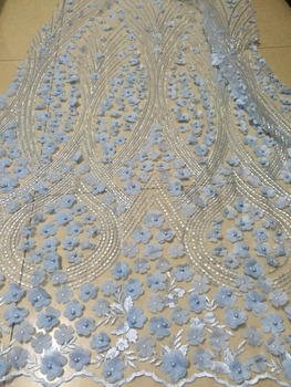 2018 Latest Fashion African Lace Fabric Handmade Of Beaded And 3D Blue Flowers High Quality African French Lace Fabrics Wedding