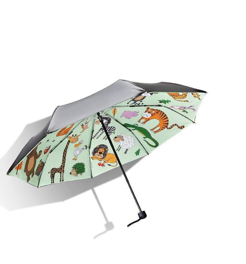 103cm 5 times black coating anti UV windproof anti thunder fiberglass parasol three fold heat transfer paper printed umbrella in Umbrellas from Home Garden