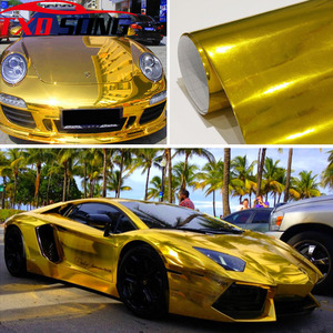 Image 1 - 7 Sizes High stretchable Gold chrome Mirror flexible Vinyl Wrap Sheet Roll Film Car Sticker Decal Sheet