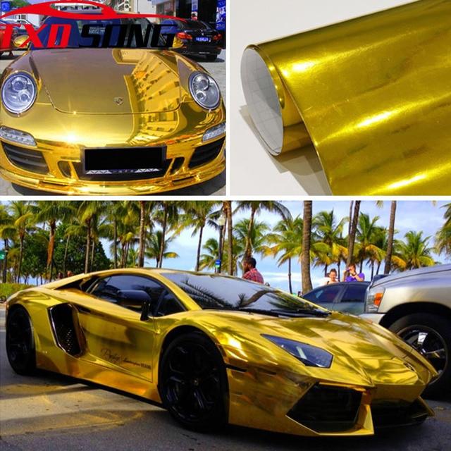 7 גדלים גבוהה stretchable זהב כרום מראה גמיש ויניל לעטוף גיליון רול סרט רכב מדבקת מדבקות גיליון