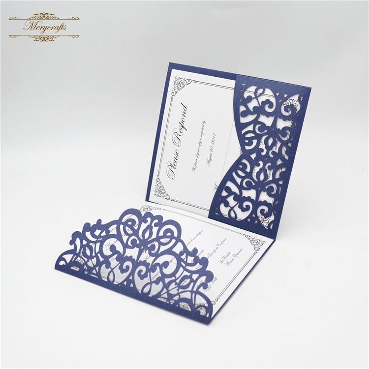 Laser Cut enrolment invitation cards individually-Pencil Blue