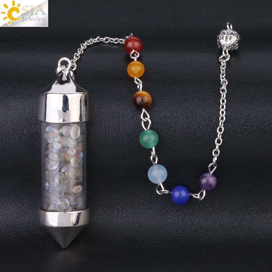 CSJA Новое поступление 7 Чакра Желая бутылка маятник рейки натуральный чип камень кулон ожерелье для женщин мужчин гадания амулет F976 - Окраска металла: Labradorite