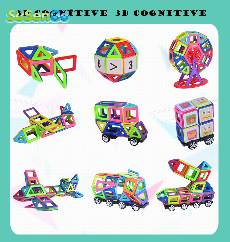 SuSenGo 42/78/104 Pcs Mini Colorful Magnetic Designer Kits 3D Building Blocks Toy DIY Educational Kids Toys for Children Toddler 62pcs set magnetic building block 3d blocks diy kids toys educational model building kits magnetic bricks toy