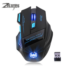 лучшая цена ZELOTES F14 2400 DPI 7 Buttons LED Optical Computer Mouse Wireless 2.4G Wireless Gaming Mouse Breathing Lights for PC laptop