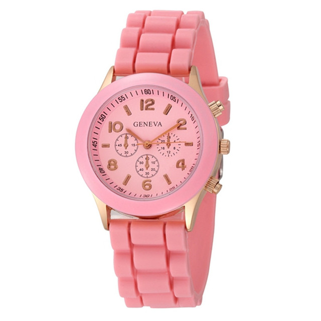 Red Dial 2019 Lujo Women Watch Pink Silicone Wristwatch Girl Lady Watches Female