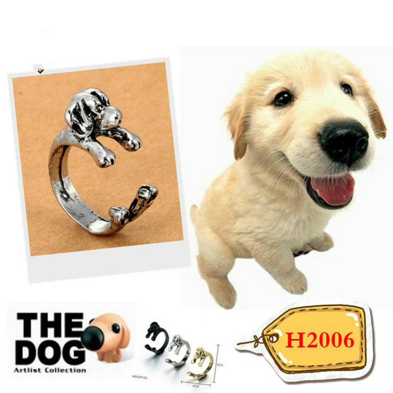 HOMOD Antique Silver Cute Beagle Rings Beagle Dog Puppy Anels Adjustable Animal Rings for Men Women Jewelry Gift Accessories in Rings from Jewelry Accessories