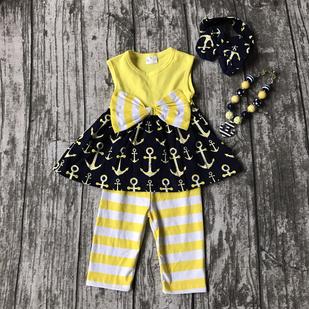 July 4th Summer outfit baby girls boutique clothes navy yellow kids anchor print capris sleeveless cotton matching accessories lole капри lsw1349 lively capris xs blue corn