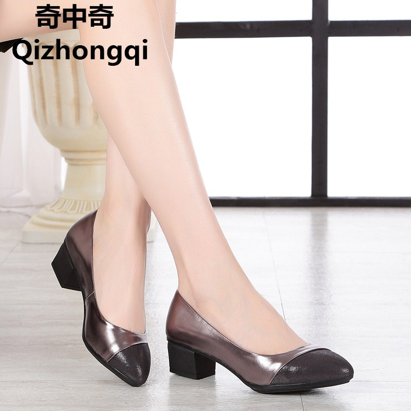 2017 spring and autumn new genuine leather women shoes shallow mouth casual fight color soft bottom mother work shoes female the spring and autumn new white shoe leather strap female flat shoes pointed deep soft bottom shoes casual student