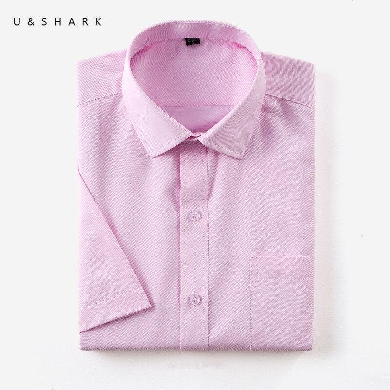 U&SHARK Easy Care Cotton Social Shirts Mens Dress Shirts Short Sleeve Business Formal Shirts Male High Quality Twill Work Shirts