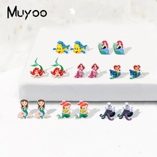 2019 Baru Little Mermaid Ariel Putri Epoxy Shrinky Dinks Anting-Anting Putri Duyung Indah Resin Anting-Anting Stainless Steel Pin Anting-Anting(China)