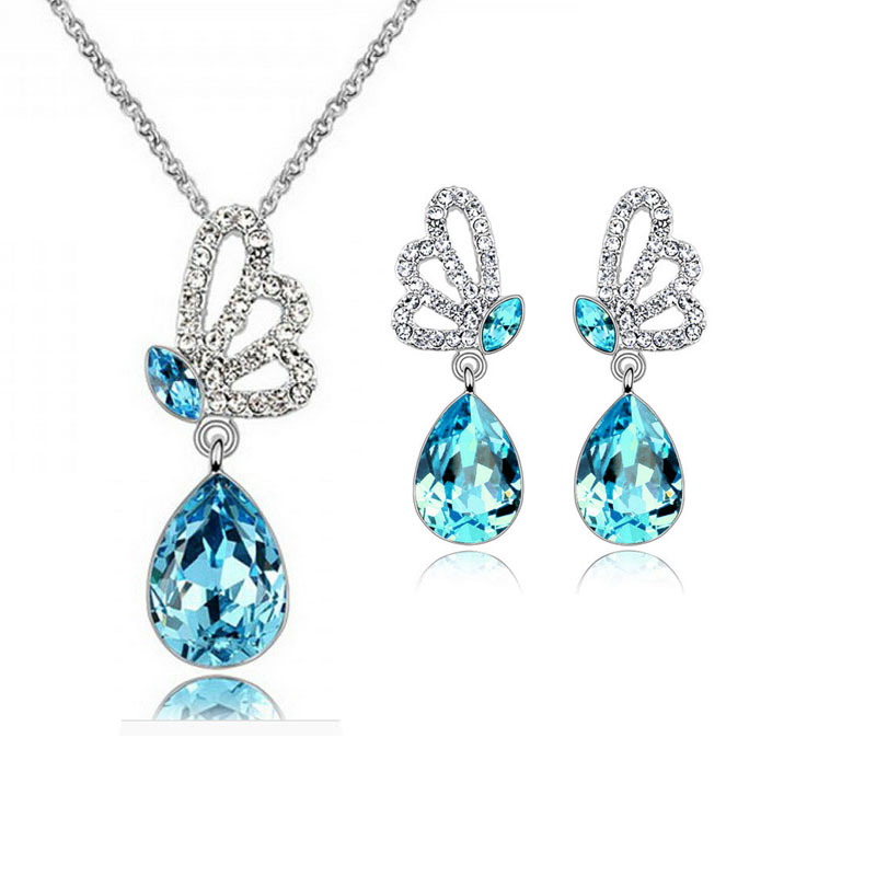 2017 Fashion Austrian Crystal Wedding Engagement Jewelry Sets For Women Silver Plated Water Drop Fashion Free Shipping