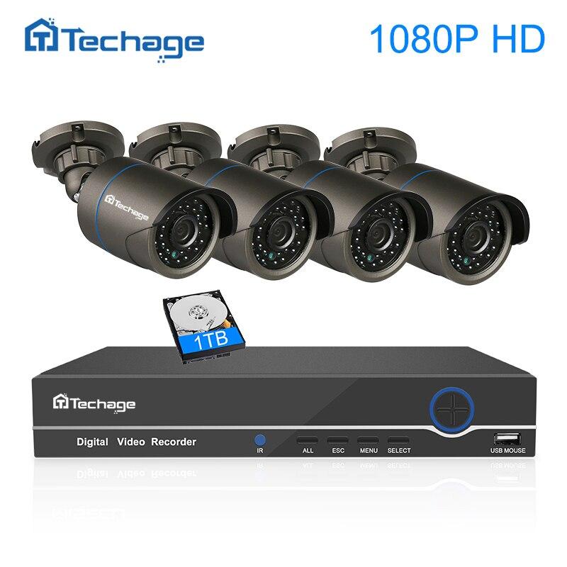 Techage CCTV Системы 4CH 1080 P 48 В POE NVR комплект 2MP безопасности POE IP Камера Открытый ИК Ночное видение P2P видеонаблюдения комплект 1 ТБ