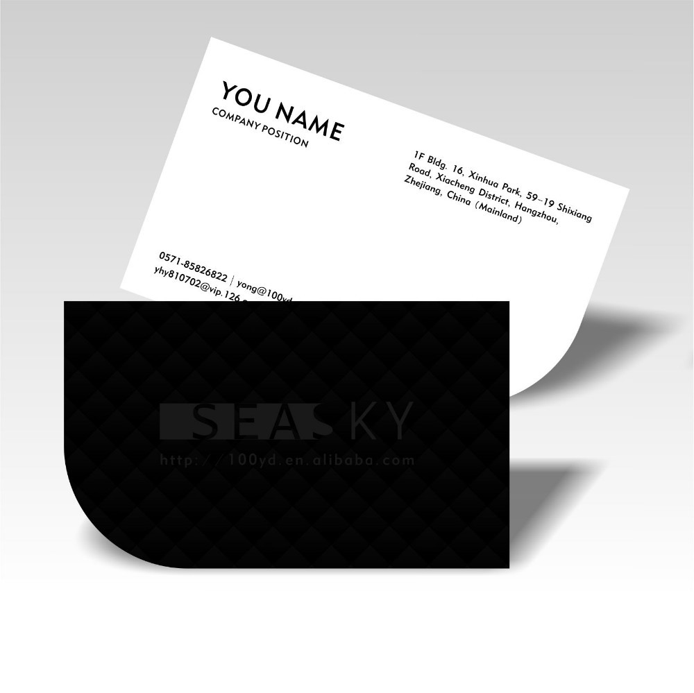Business cards printing hot silver stamping 9054mm thick visitname free shipping unique designer die cutting business cards customized one side matt black print visit card reheart Gallery