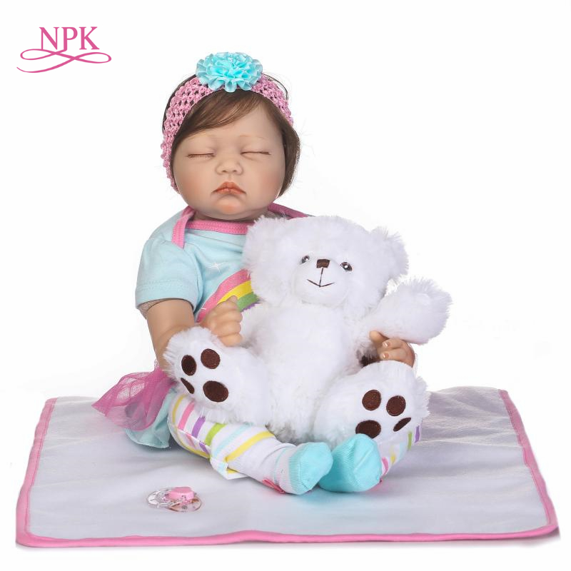NPK Lovely sleeping Girl Princess Reborn Baby Dolls Lifelike bebe Dolls with Hair So Truly Reborns