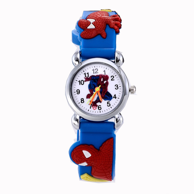 Fashion Cute Spiderman Cartoon-watch Kids Watches Children Watch Boy Cool 3d Rubber Strap Quartz-watch Clock Hour Gift