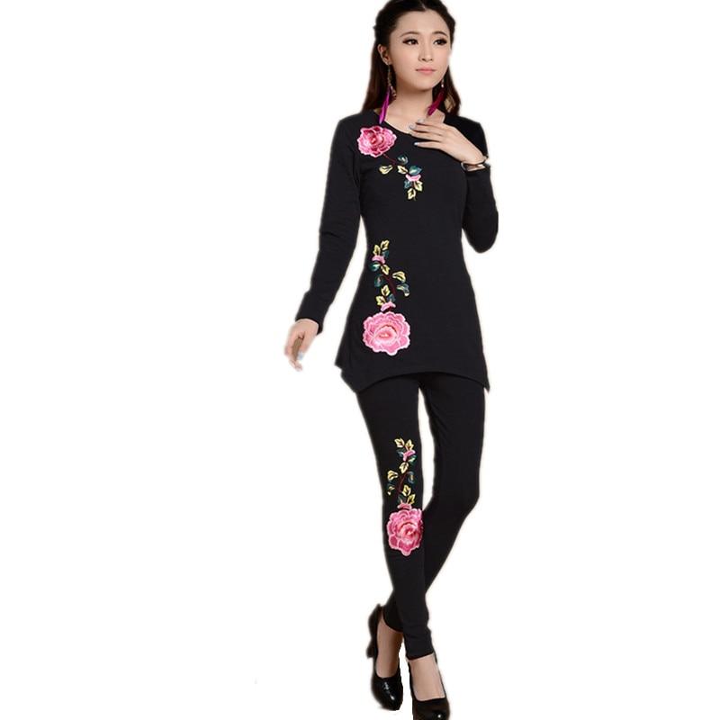 2016 вышивка хлопок футболки брюки набор осень зима винтаж черный белый blusas feminina топы tee женщины костюм плюс размер ropa