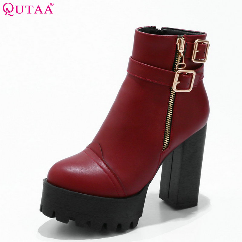 QUTAA 2018 Women Ankle Boots Westrn Style Pu Leather Square High Heel Round Toe Zipper Design Fashion Women Boots Size 34-39QUTAA 2018 Women Ankle Boots Westrn Style Pu Leather Square High Heel Round Toe Zipper Design Fashion Women Boots Size 34-39