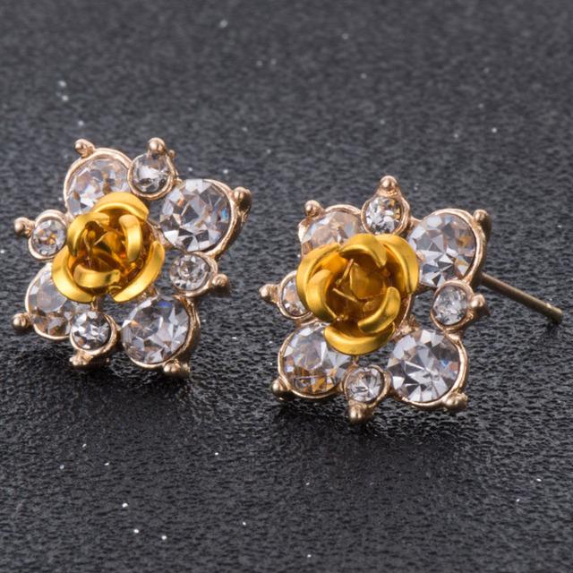 Women Rhinestone Flower Crystal Stud Earrings