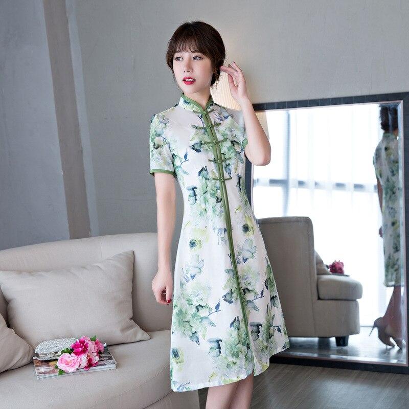 Cheongsam 3xl Main L Chinois Rayonne 1 La Nouveauté Haute Xl Taille Court Robe Fleur Qualité À De Femmes 3 Bouton Xxl 2 Mince Nouvelle S M yt7qwBYFp