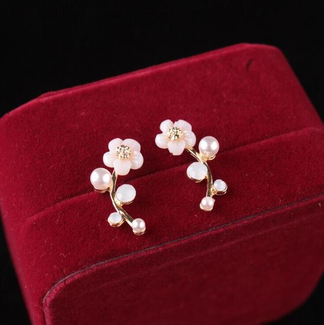 Women Pearl Women Branch Shell Pearl Flower Stud Earrings