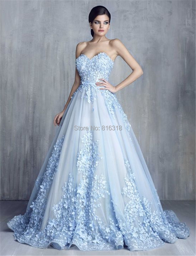 Popular light blue wedding gown buy cheap light blue for Blue lace wedding dress