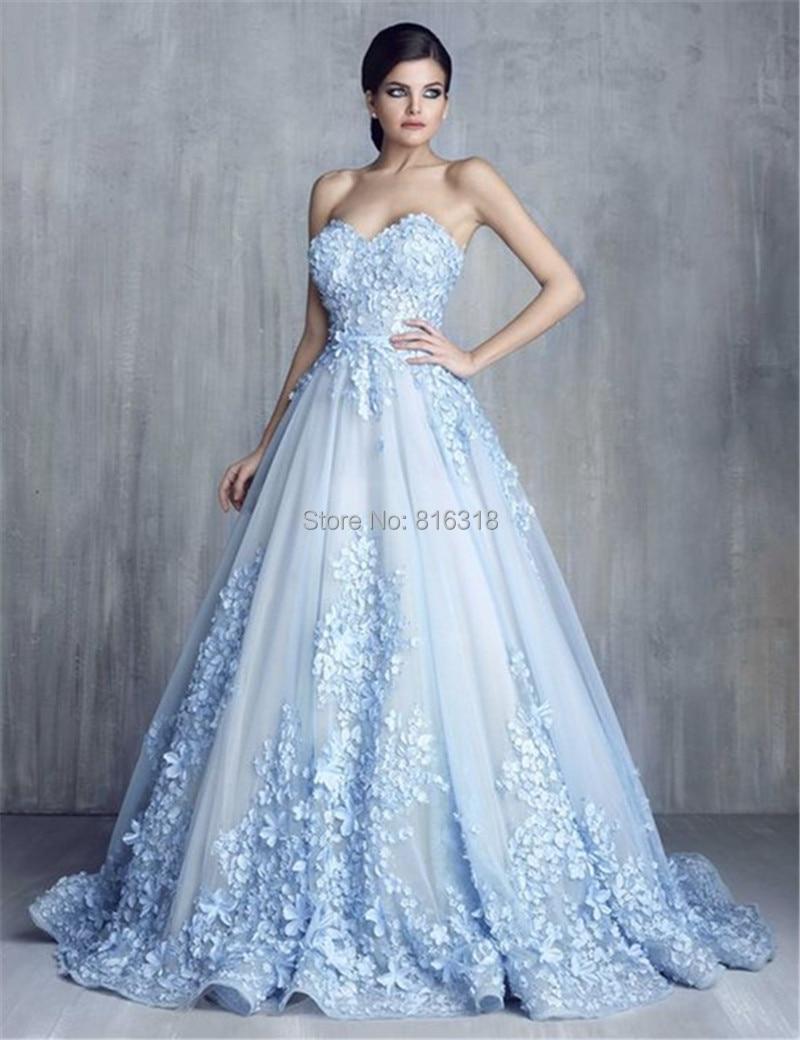 Light Blue Gown Wedding Dresses