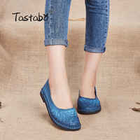Tastabo Genuine Leather Shoes Fashion Loafers Women Shoes Handmade Soft Comfortable Flat Weave Solid Casual Shoes