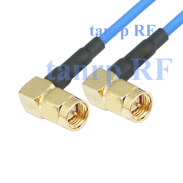 15CM coaxial Sexi Flexible blue jacket jumper cable RG405 6in SMA male plug to SMA male both 2 right angle RF 3G 4G router WIFI