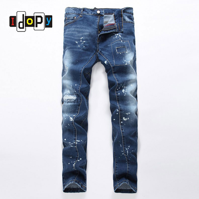 Fashion Mens Patchwork Ripped Jeans Paint High Quality Blue Denim Pants Brand Designer Slim Fit Jean Trousers For Men new brand 2017 mens skinny jeans mid waist male trousers patchwork cotton men s denim slim pants fashion ripped jeans for men