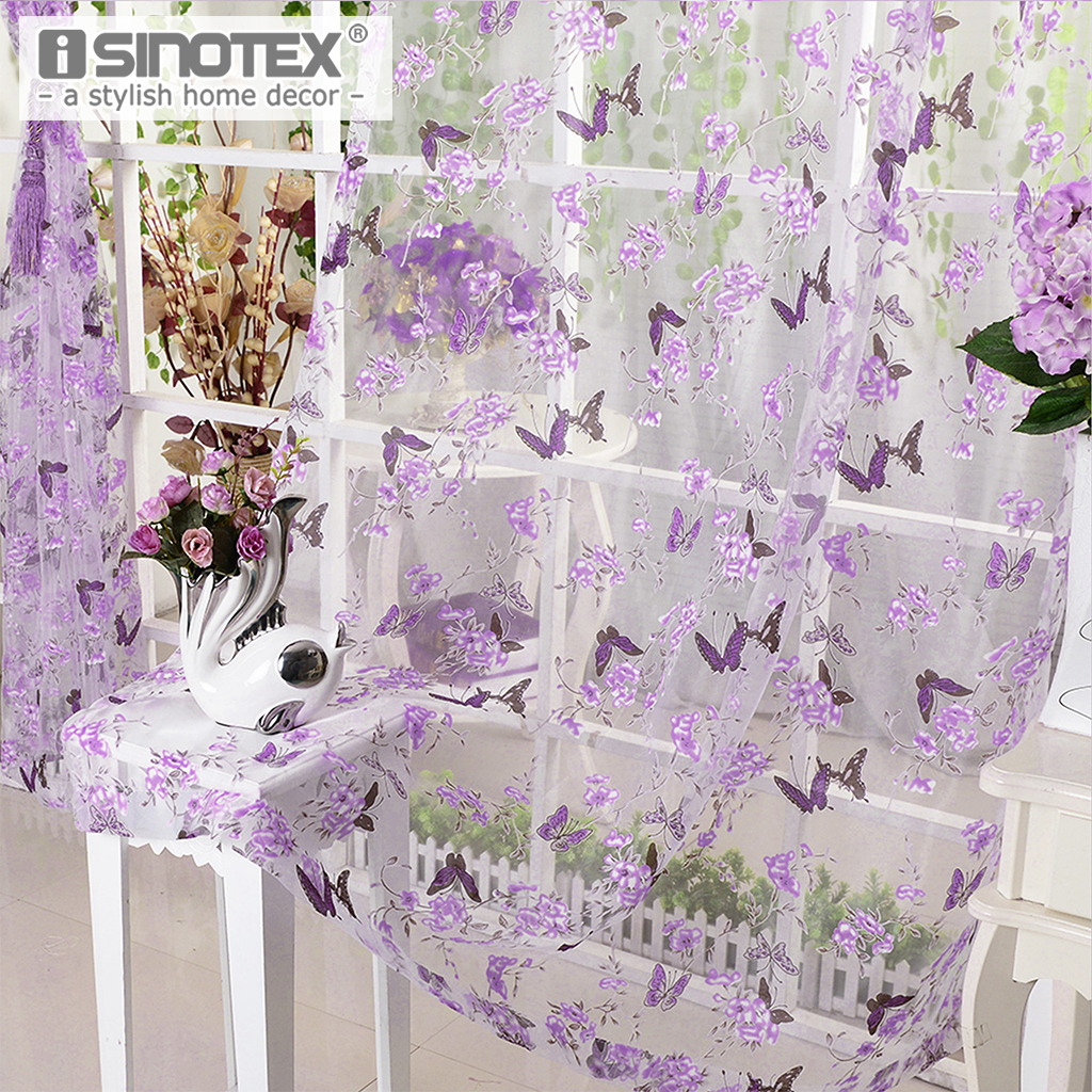 iSINOTEX Window Curtain Purple Butterfly Burnout Tulle Voile Fabric Transparent Sheer Living Room Screening 1PCS/Lot