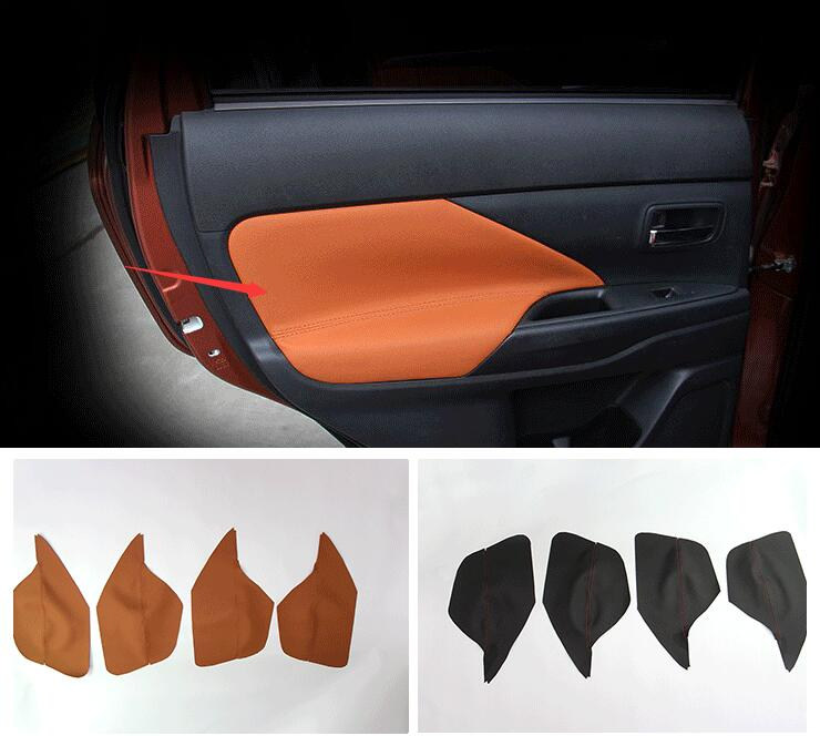 for Mitsubishi Outlander 2013 2014 2015 2016 Car Styling door's Armrest panel cover decoration Trim leather skin for mitsubishi outlander 2013 2014 2015 2016 car styling door s armrest panel cover decoration trim leather skin