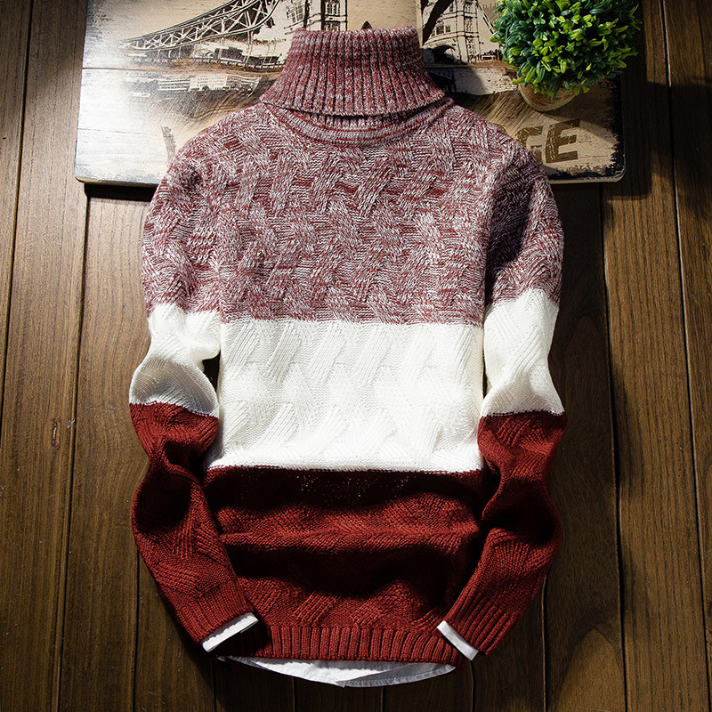 2017 New Winter Thick Sweater Men Long Sleeve Slim Fit Turtleneck Mens Christmas Sweaters And Pullover Men MY6244
