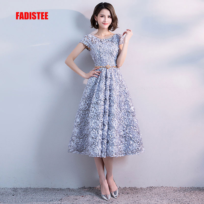 FADISTEE new arrival party   prom     dress   Vestido de Festa scoop neck evening party lace flowers sashes cap sleeves short style