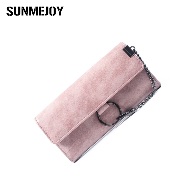 SUNMEJOY Quality Women Scrub Leather Wallet Metal Chain with Rings Phone Pocket Wallet Female Card Holder