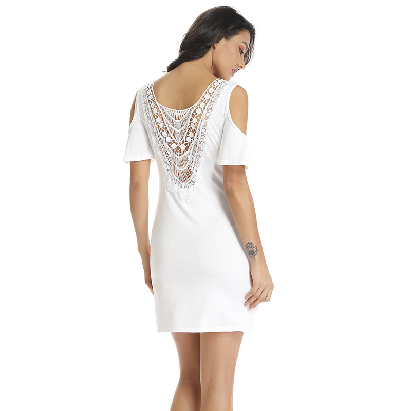 Summer Fashion Women Dress Solid Color Lace Lou Hollow White Sexy Beach Bodycon Open back Short Sleeve Solid Color Lady Dress in Dresses from Women 39 s Clothing