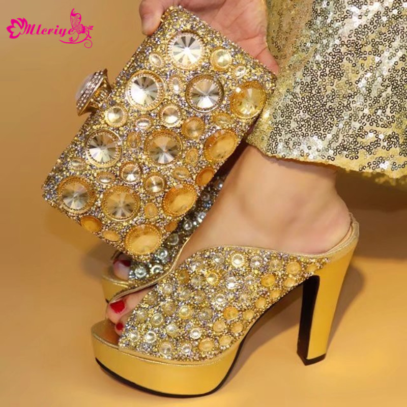 Gold Color African PU Leather Shoes And Bag Matching Set With Stones Shoes Women Italian Shoes And Bag Set For Party Wedding air purifier for home household ionic air purifier with anion sterilization functions activated carbon filters for cleaning air