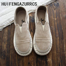 HUIFENGAZURRCS-Hot,2019 summer new handmade soft soles comfortable shoes,women genuine leather flat single shoes,3 colors