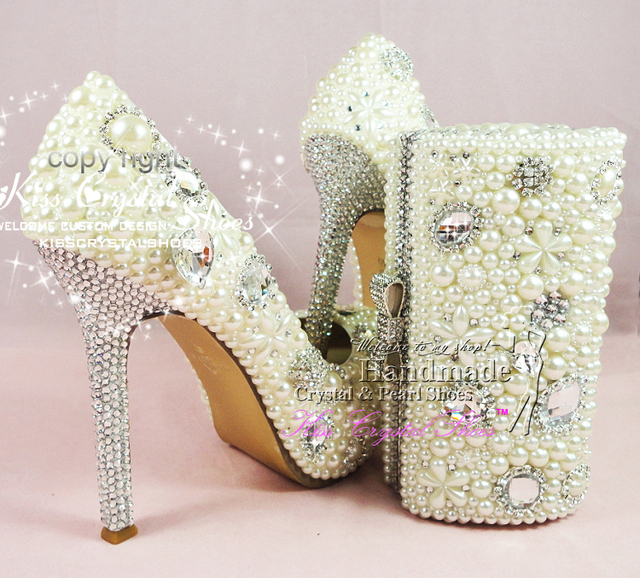 Marvelous OFF WHITE WEDDING SHOES WOMENS HIGH HEELS Ivory Pearl And Rhinestone BRIDAL  PARTY SHOES With MATCHING