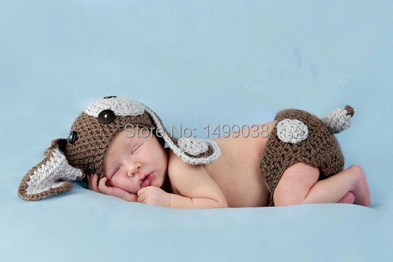 Mother & Kids Crochet Puppy Dog Crocheted Hat Photography Prop