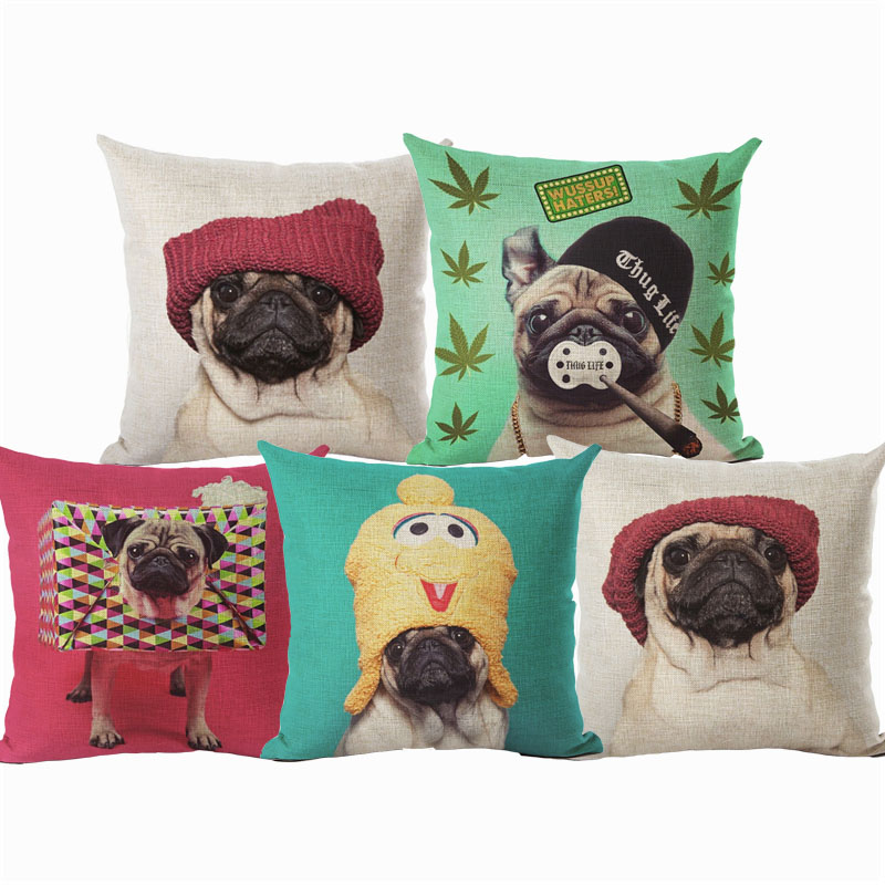 Animal Cushion Cover Dog Pug Children Decorative Bed Sofa Throw Pillow Car Chair Home Decor Pillow Case Almofadas Cojines