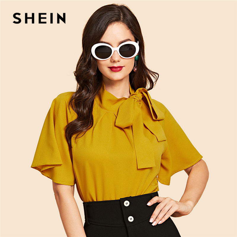 SHEIN Ginger Vintage Elegant Office Lady Flutter Sleeve Tie Neck Half Sleeve Blouse 2018 Autumn Casual Women Tops And Blouses