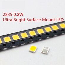 200шт SMD LED 2835 Теплый белый чип 0.2 Вт 3.0-3.6V 45-50LM Ультра яркий светодиод для монтажа на поверхность Светодиодная лампа