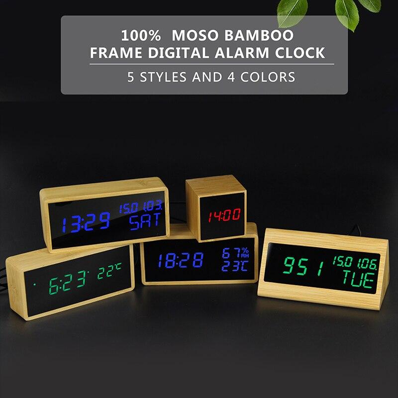 100% Bambus Digitale Wecker Holz Led Tisch Uhr Elektronische Despertador Schreibtisch Helligkeit Stimme Snooze Steuerung Temperatur