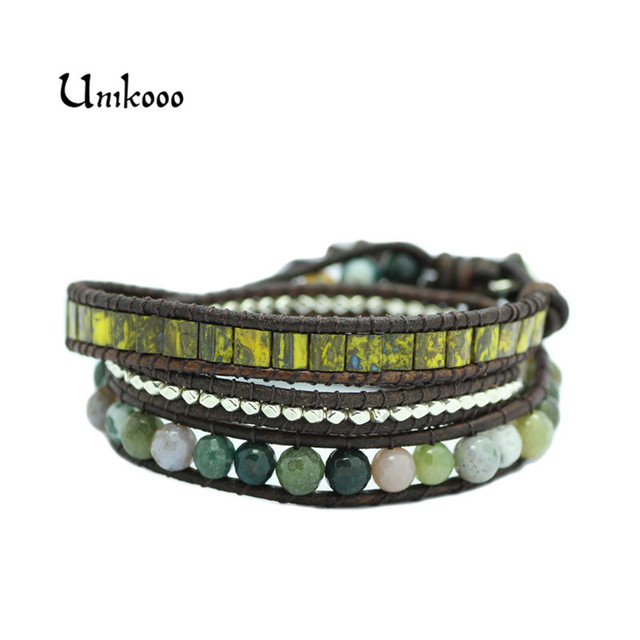 New Triple Leather Wrap Bracelet For Women Fancy Natural Stone Multilayer Czech Gl Beads