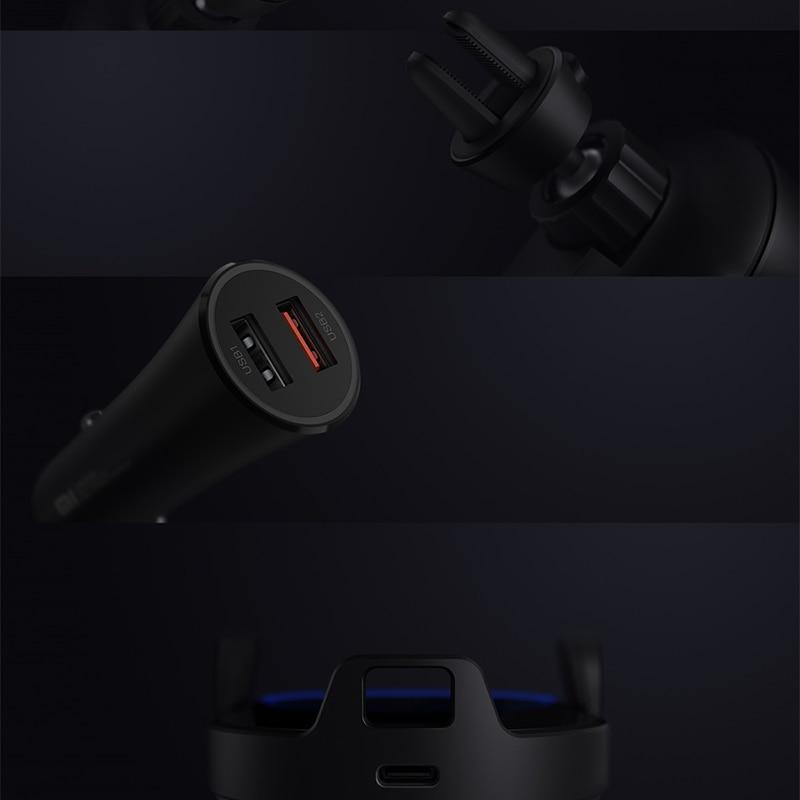 Chargeur de voiture sans fil Xiao mi Original 20 W Max pince automatique électrique 2.5D verre Qi chargeur rapide intelligent pour mi - 5