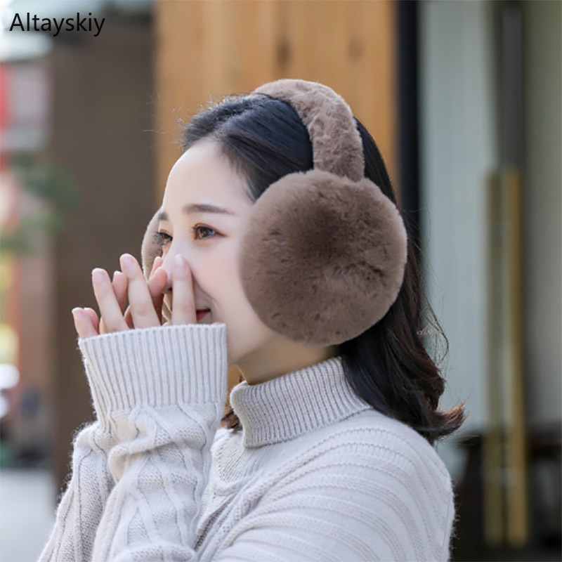 Earmuffs Women Plus Velvet Warm All-match Soft Plush Winter Solid Folding Womens Ear Korean Style Lovely Trendy Earmuff Daily
