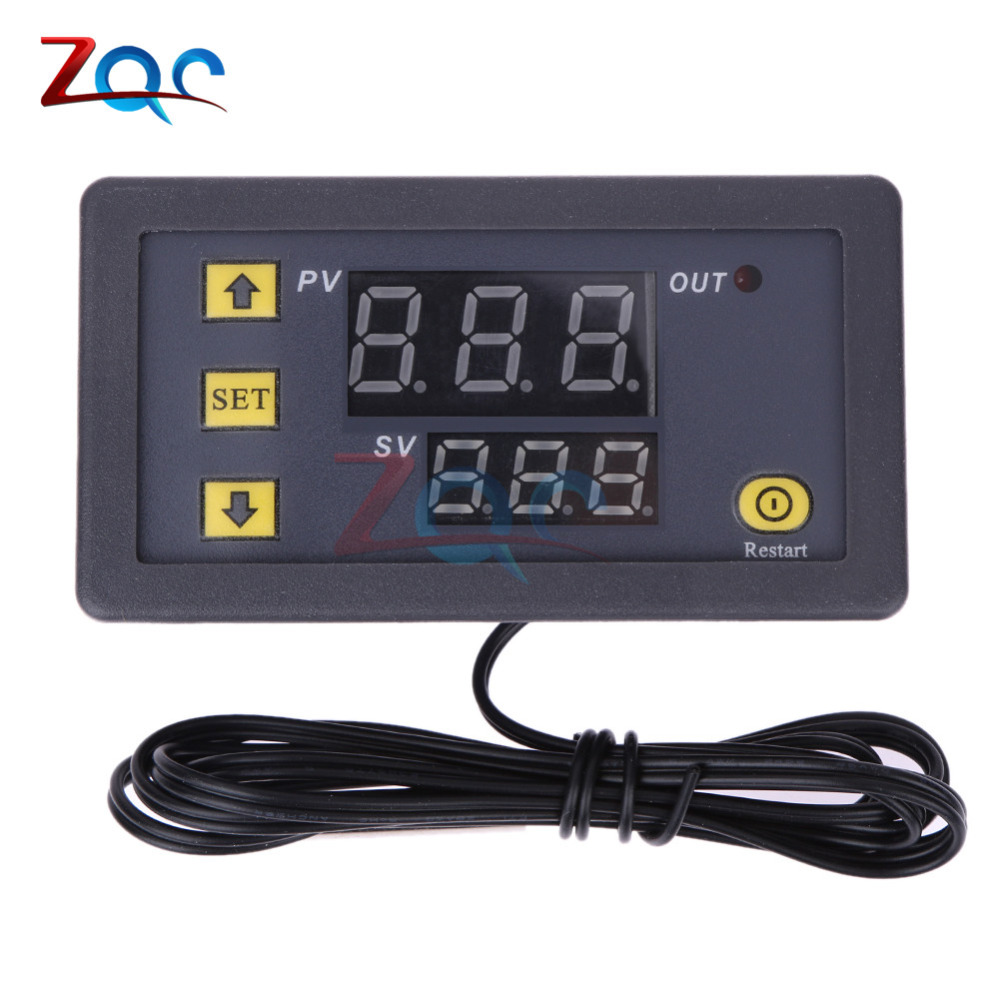 W3230 DC 12V Digital Temperature Controller Red And Blue Display 20A -55-120 Degree Temperature Measurement Data Save dmx512 digital display 24ch dmx address controller dc5v 24v each ch max 3a 8 groups rgb controller