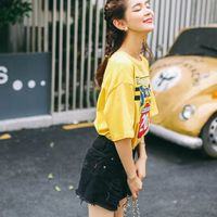 Letter Print T Shirt Rose Harajuku T Shirt Women 2017 Summer Casual Short Sleeve TShirt Ribbed